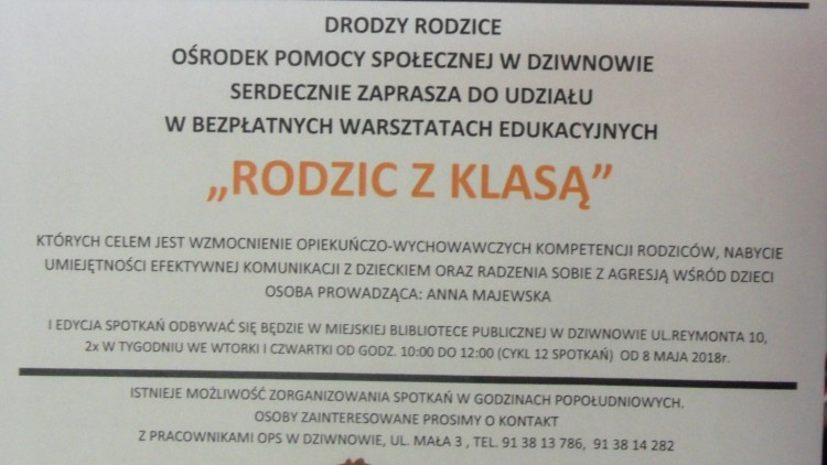 """Od 8 maja rozpoczynamy cykl bezpłatnych  Warsztatów Edukacyjnych """"RODZIC Z KLASĄ""""."""
