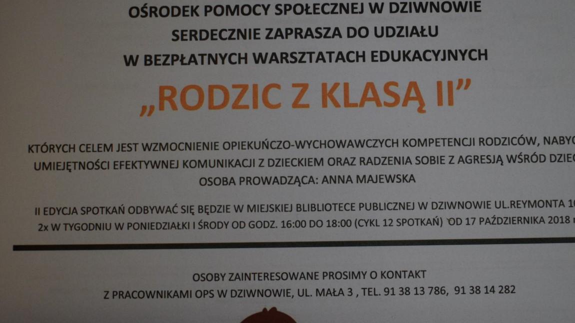 """Drodzy rodzice Ośrodek Pomocy  Społecznej w Dziwnowie serdecznie zaprasza do udziału w bezpłatnych warsztatach edukacyjnych """"RODZIC Z KLASĄ II"""" do Biblioteki w Dziwnowie."""